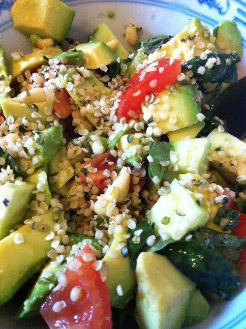 avocado, tomato, cucumber, basil, hemp seeds, EVOO, lemon, garlic