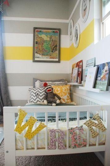 Yellow, Grey, White stripe walls