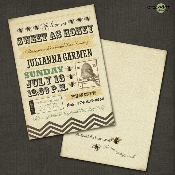 bumble bee bridal shower invitation a love as by GreenDotDesigns, $14 ...
