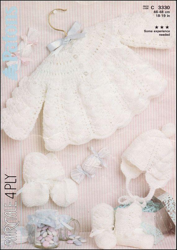 Knitting Patterns Patons : Vintage PDF BABY Knitting Pattern - Patons 3330 - cardigan matinee co?
