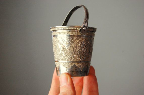Vintage sterling silver small decorative pail tiny bucket for Small pail buckets
