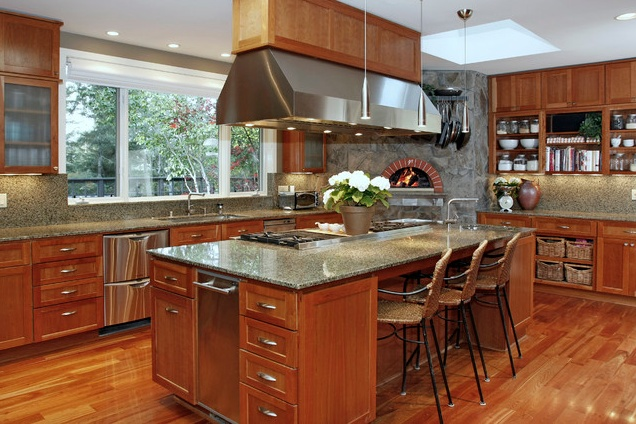 Center island range kitchen islands pinterest Kitchen design center stove