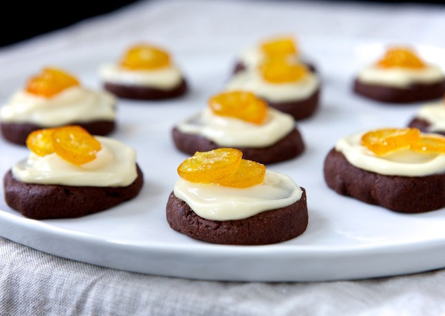 Chocolate Spice Cookies with Mascarpone Frosting and Candied Kumquats ...