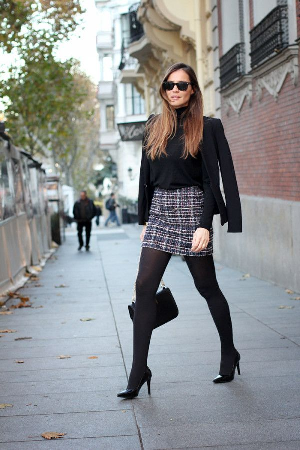 Black blazer, black turtleneck and black hosiery reminds me of the fashion in London. #happymemories #gorgeousoutfit