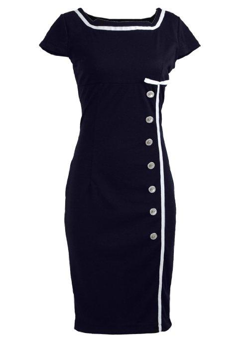 Nautical Pinup Rockabilly Vintage Retro Pencil Womens Dress: Clothing