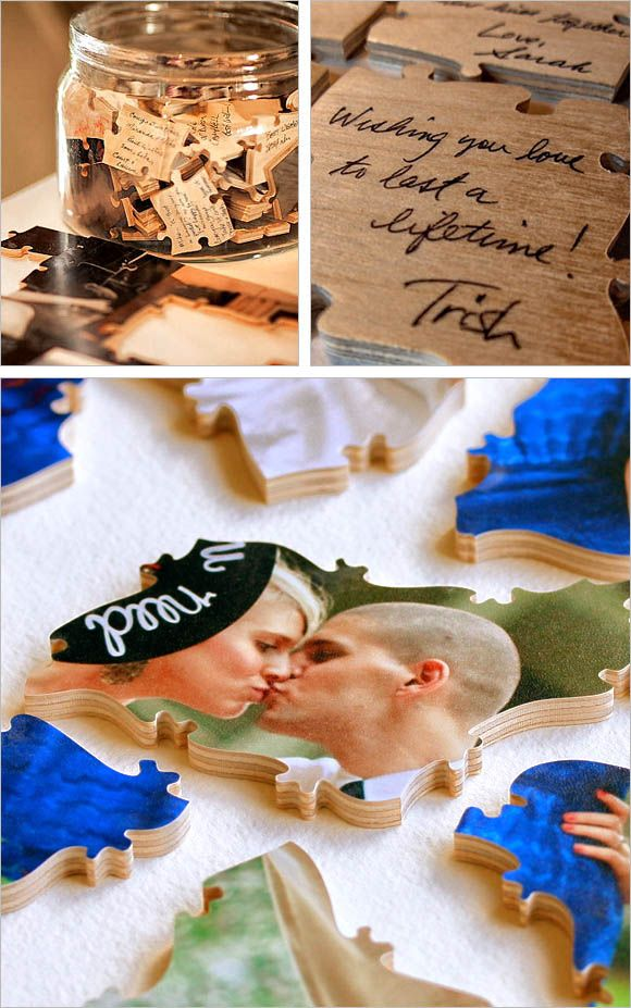 The puzzle features a portrait photo chosen by the bride and groom and have the back side for the wedding guest's personal comments. Put the pieces inside a glass container at the wedding venue, together with a message requesting guest to autograph the incomplete backside for advice for the mr. and mrs.