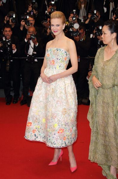 Nicole Kidman in Christian Dior - both coral shoes and dress in Cannes 2013