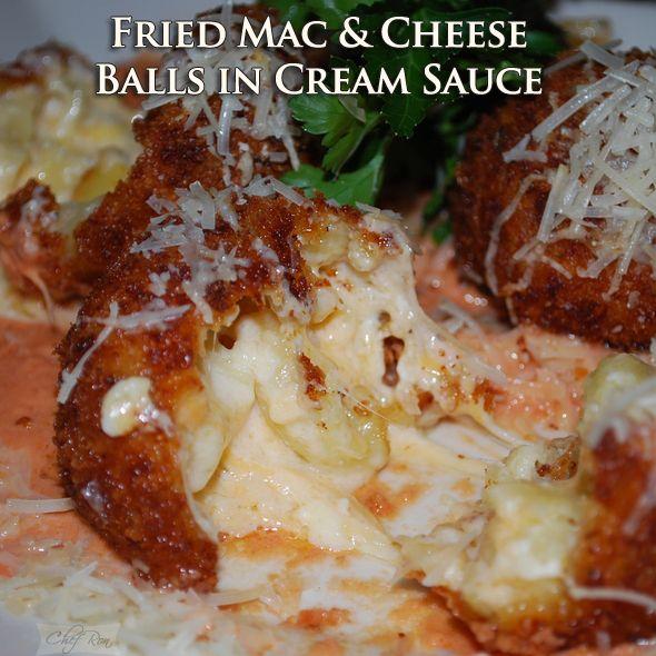 fried mac amp cheese balls in cream sauce