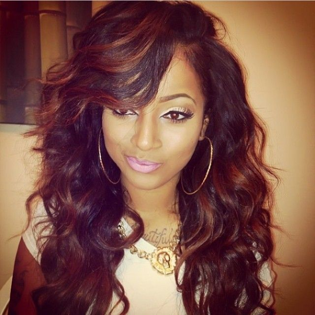 wavy hair with side bangs weave pinterest