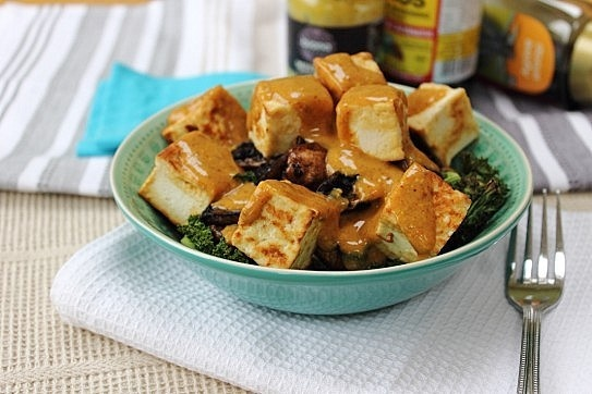 ... Maple Drenched Tofu, Kale + Portobello Mushroom Bowl | Peachy Palate