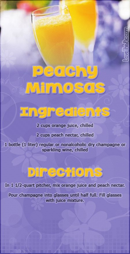 Peachy Mimosas drink recipe | Good Food Good Drink and Favorite Recip ...
