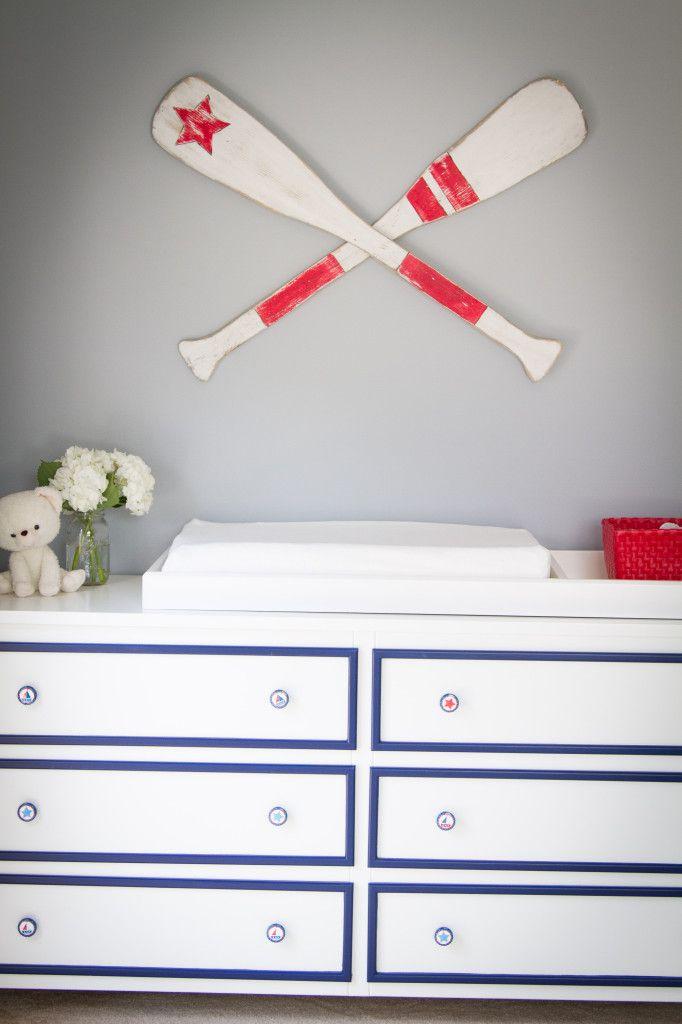 DIY white dresser with navy trim - so preppy! #nursery