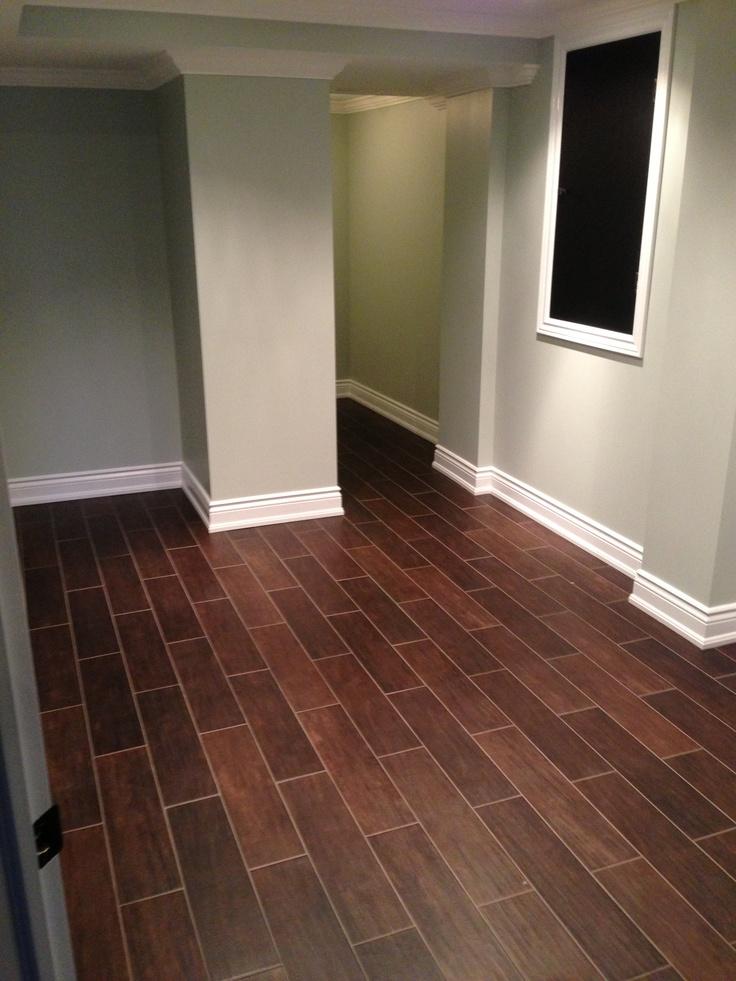 Floor Alternative Hardwood Styled Tile Dark Hardwood Tile Basement