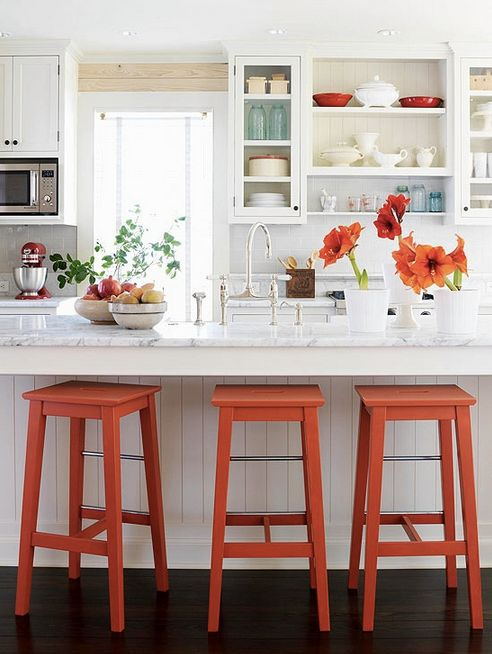 Countertops, pops of color, clean lines of cabinets