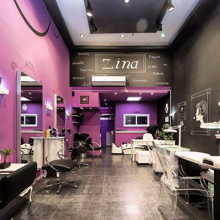 Beauty salon black purple on the job interior design for A b beauty salon