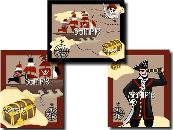 Set of 3 arrrrg matey pirate boys 8x10 bedroom art prints for 8x10 bedroom