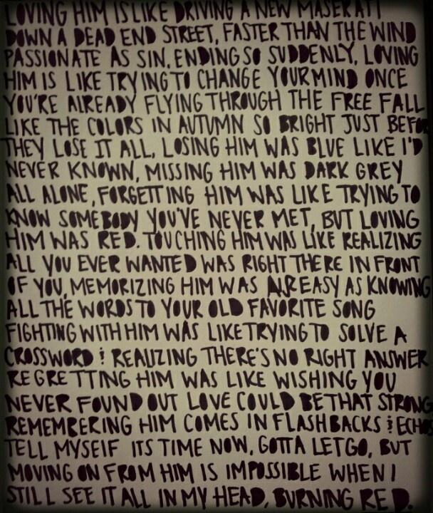Red taylor swift lyrics | The Amazing Taylor Swift | Pinterest