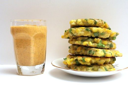 Corn fritters with roasted red pepper dipping sauce