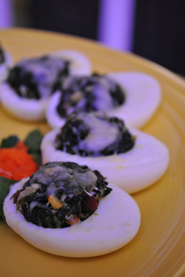 Egg White Rockefeller: egg whites stuffed with spinach, bacon, & cheese. Only 35 calories