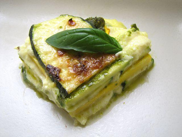 zucchini lasagna with pesto & ricotta.... yum!