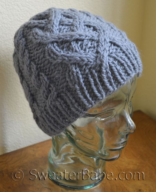 Chunky Cable Knit Hat Pattern Free : #183 One-Ball Chunky Cabled Hat PDF Knitting Pattern