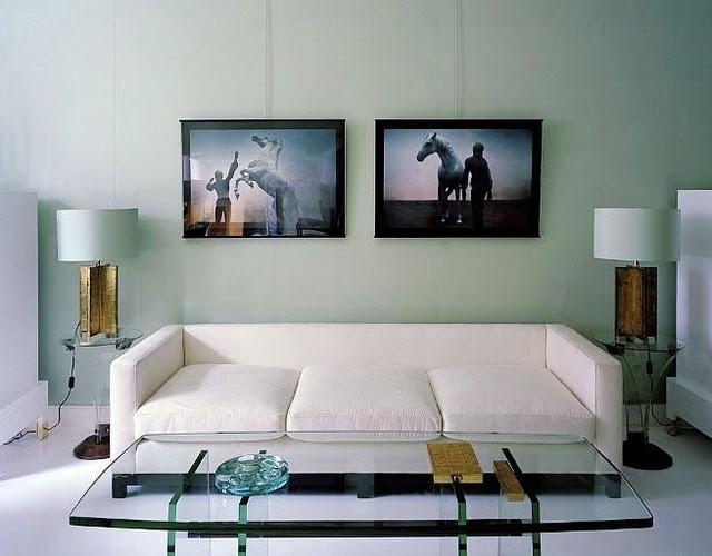 White Sofa Sea Foam Green Walls