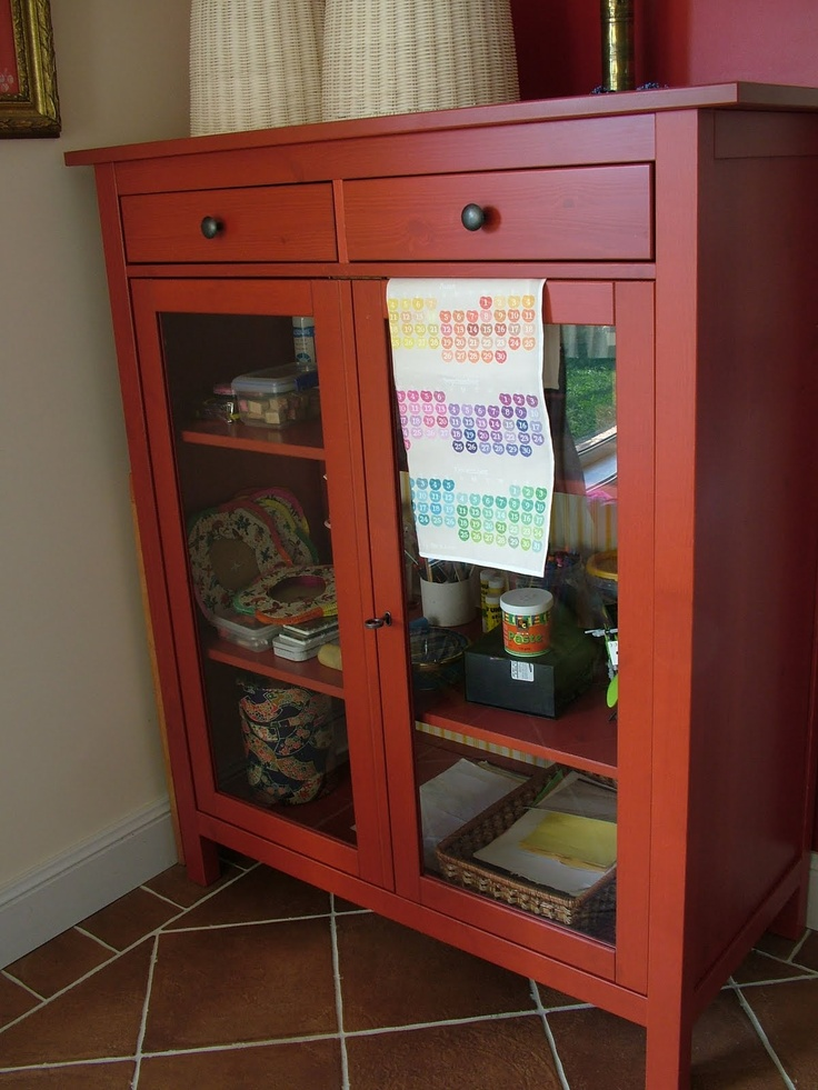 Hemnes red linen cabinet linen cabinets pinterest for Linen closet ikea