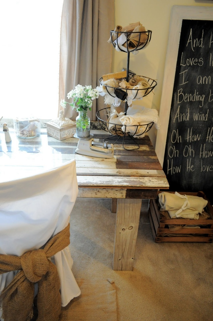 Lovely reclaimed wood table; I also like the tiered basket, crate on ...