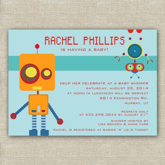 printable robot baby shower invitation by whiteplumink on etsy