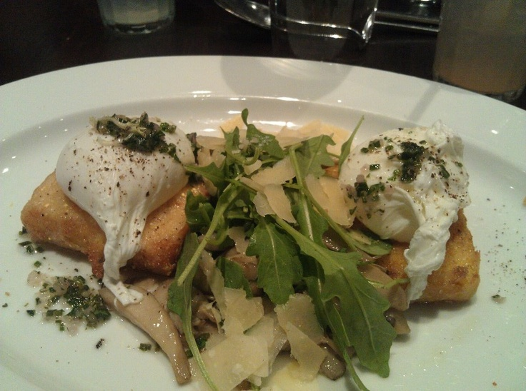 Crispy polenta cakes with sauteed wild mushrooms, poached egg, wild ...