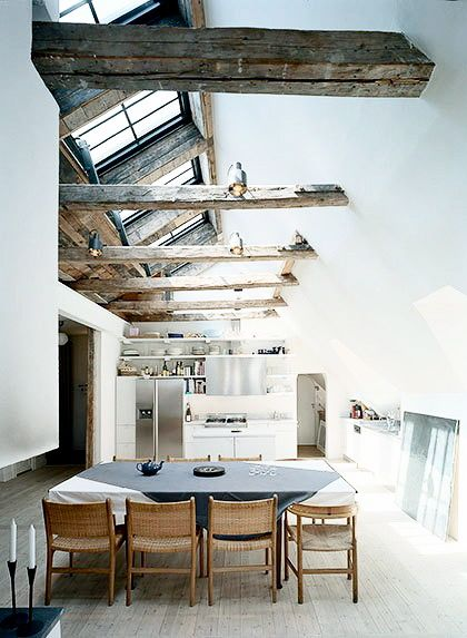 wood beams & skylights... perfection