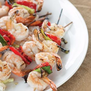 ... inland. These Pineapple-Jerk Glazed Shrimp Kabobs are a tasty entree