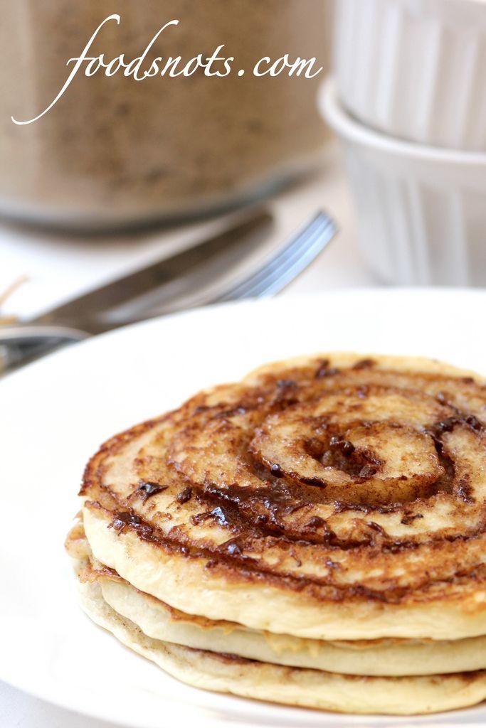 cinnamon roll pancakes :)   food i like   Pinterest