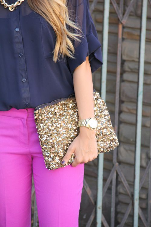 Pink, navy, & gold.