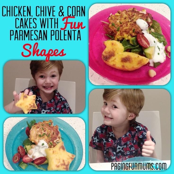 Chicken, Chive & Corn Cakes with FUN Parmesan Polenta Shapes! - Jenni ...