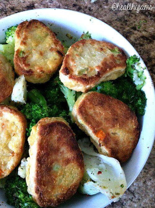 ... Joe's Tofu Edamame Nuggets with Steamed Cauliflower and Broccoli