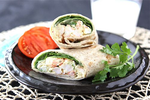 healthy shrimp sandwich wrap with curry yogurt amp spinach recipe