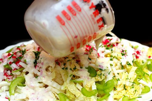 Napa cabbage salad with buttermilk dressing*