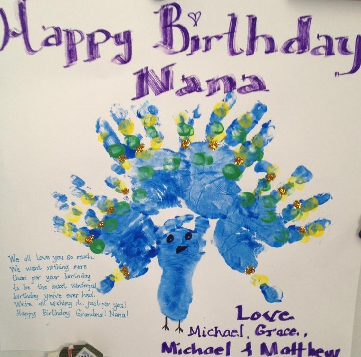 Nana's Birthday Card/ Hand Print Peacock