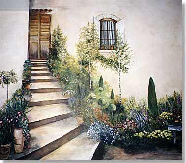 Provençal stairway trompe l'oeil