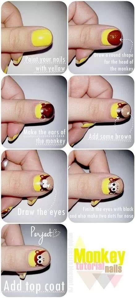 Nail design, easy monkey tutorial | Nails | Pinterest
