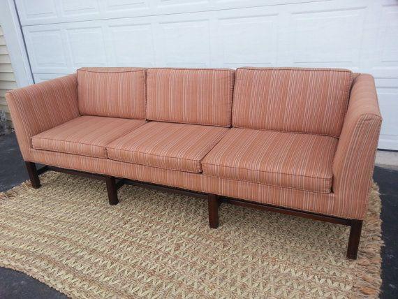 Mid Century Modern Multi Colored Stripe Sofa Coral Peach