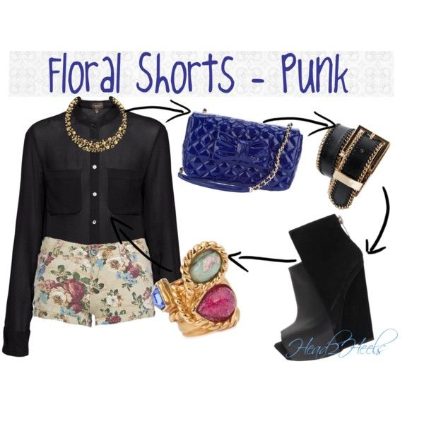 """Floral Shorts - Punk"" by head2heels on Polyvore"