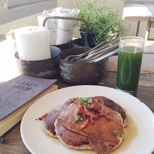 whole grain pancakes with bacon bits + arugula & apple kale juice. | # ...