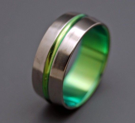 inspired by green titanium wedding bands