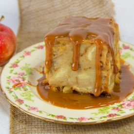 Apple Bread Pudding topped with Dulce de Leche Sauce.