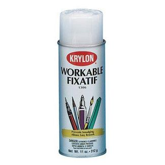 Workable fixative spray protects pencil charcoal chalk pastels