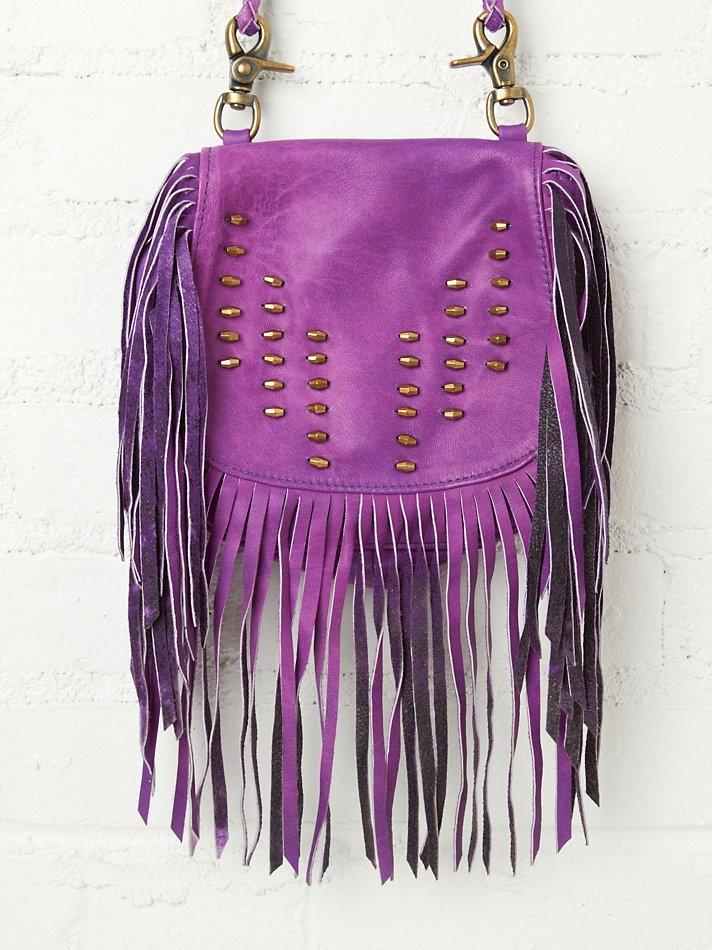 purple bohemian fringe handbag