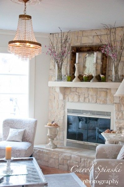 Painted Stone Fireplace 398 x 600