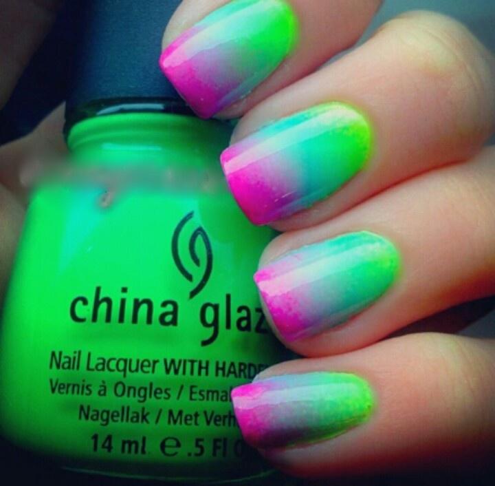 24 Bright Neon Color Ombre Nail Designs